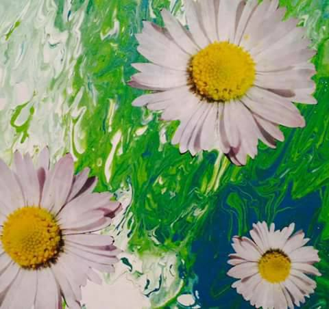 art exhibit sample - painted flowers