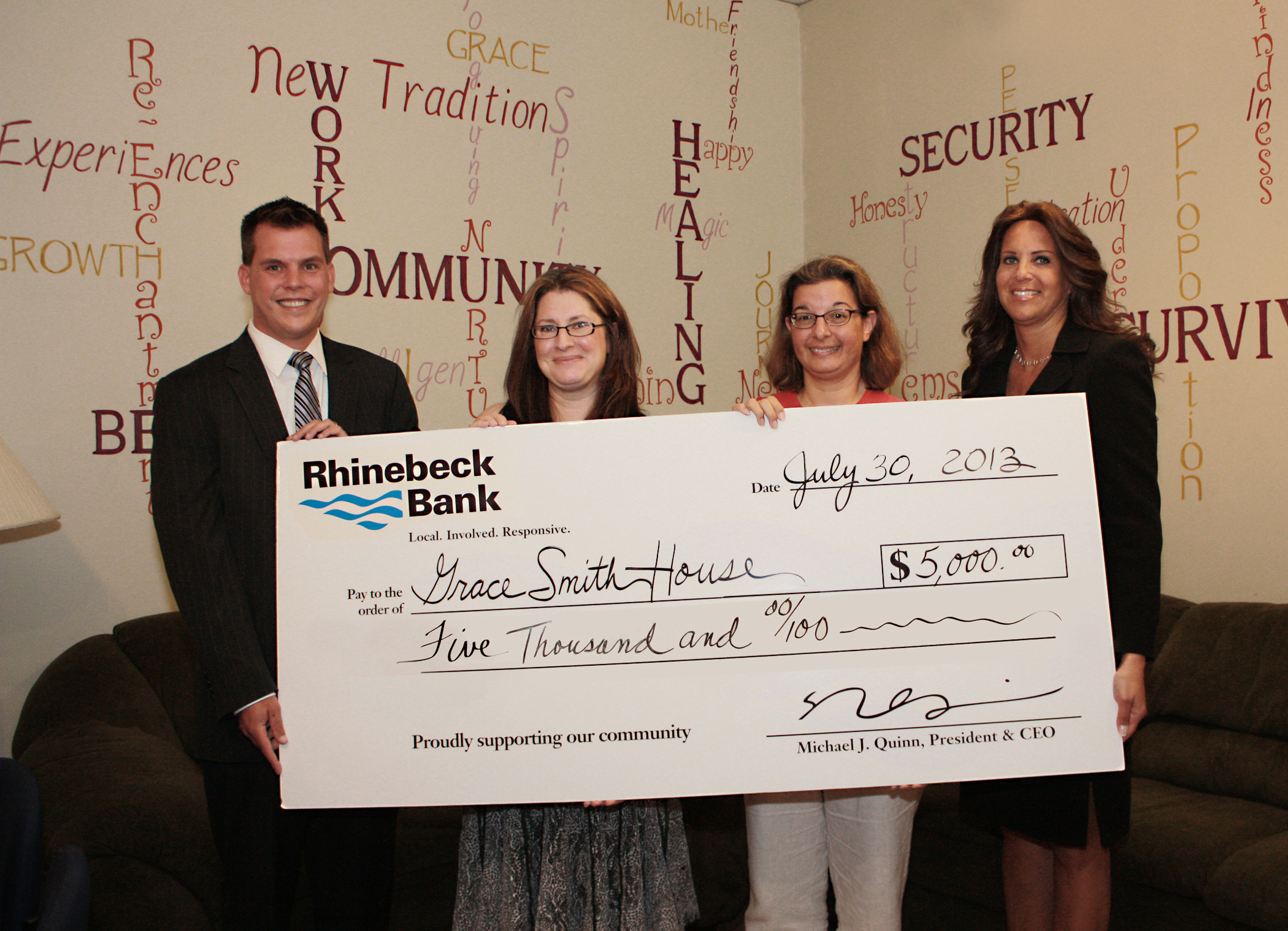 Rhinebeck Bank - Grace Smith House donation group photo
